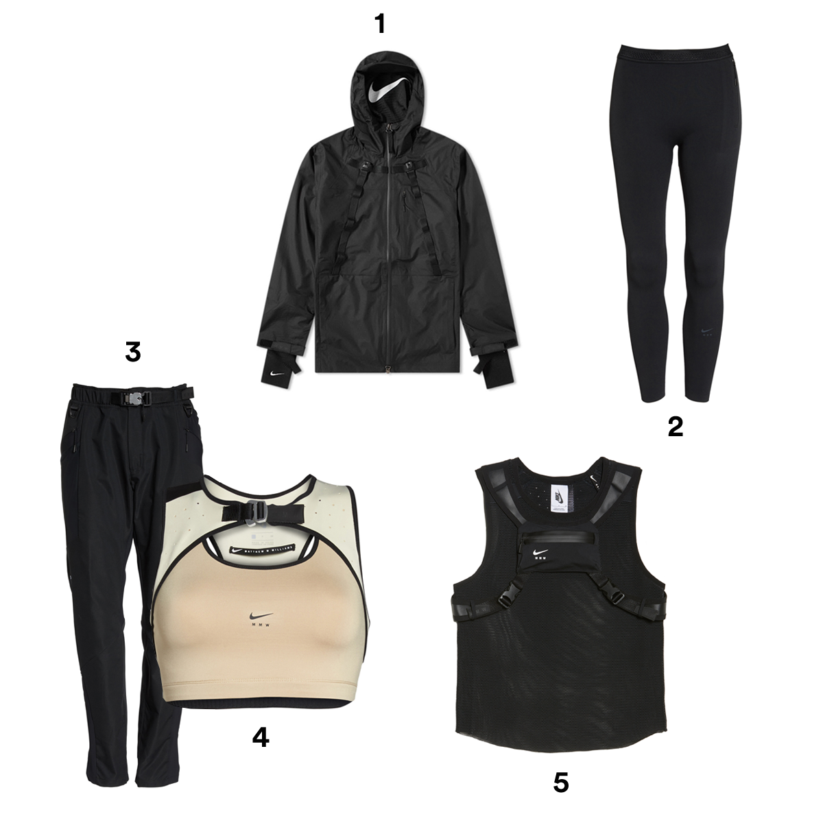 1) NIKE X MATTHEW WILLIAMS Black Full Zip Hoodie, available at Nordstrom. 2) NIKE X MATTHEW WILLIAMS Black Tight Leggings, available at Nordstrom. 3) NIKE X MATTHEW WILLIAMS Black Lounge Pants, available at Nordstrom. 4) NIKE X MATTHEW WILLIAMS Medium Support Dri-Fit Sports Bra, available at Nordstrom. 5) NIKE X MATTHEW WILLIAMS Black Tank, available at Nordstrom.