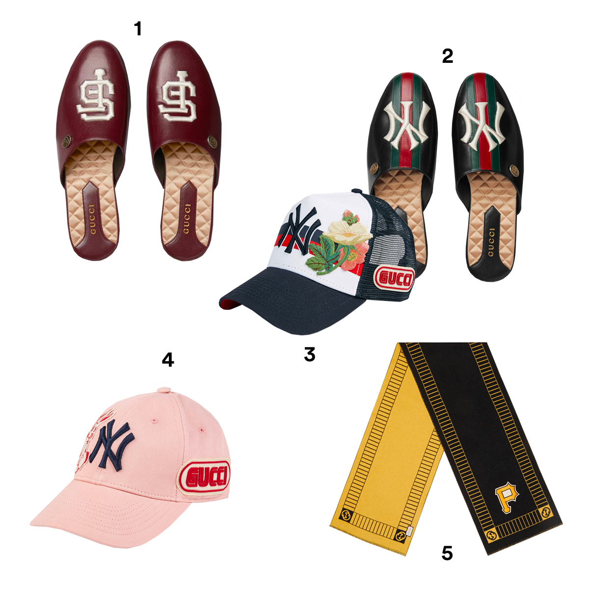 1) GUCCI X MLB Leather Slippers with SF Giants Patch, available at Gucci. 2) GUCCI X MLB Leather Slippers with NY Yankees Patch, available at Gucci. 3) GUCCI X MLB Black & White Baseball Cap with NY Yankees Patch, available at Gucci. 4) GUCCI X MLB Pink Baseball Cap with NY Yankees Patch, available at Gucci. 5) GUCCI X MLB Wool Scarf with Pittsburgh Pirates Patch, available at Gucci.